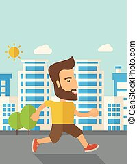 Man do jogging under the heat of sun - A caucasian do a...