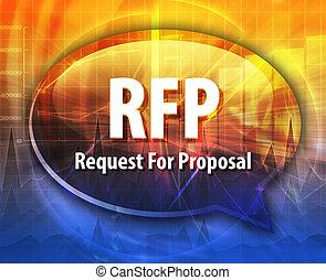 RFP, acrônimo, palavra, fala, bolha,...