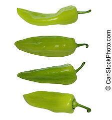 set green peppers isolated on white