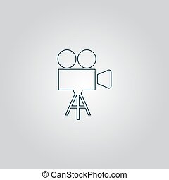 Video camera icon vector - Video film camera Flat web icon...