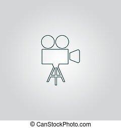 Video camera icon vector - Video film camera. Flat web icon...