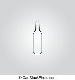 liquor bottle icon - Liquor bottle. Flat web icon or sign...