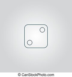 One dices - side with 2 Flat web icon or sign isolated on...