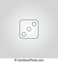 One dices - side with 3 Flat web icon or sign isolated on...