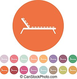The lounger icon. Sunbed symbol. Flat Vector illustration....
