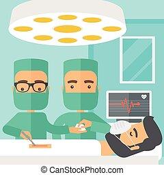dos, cirujanos, Mirar, encima, Un, paciente, en, un, Operar,...