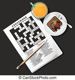 illustration of crossword game with orange juice and...