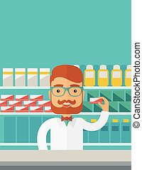 Young  pharmacy chemist man standing in drugstore.