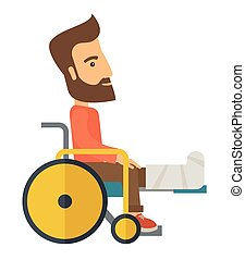Man in a wheelchair - A Man in a wheelchair with broken bone...
