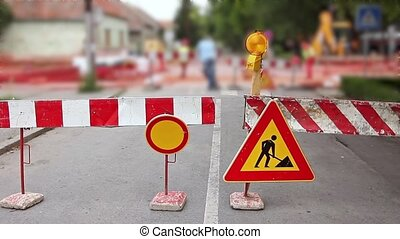 Street is under construction - Multiple warning signs...