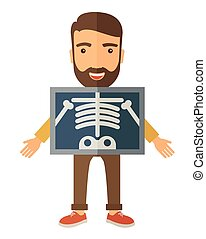 The view of man is holding a X-ray picture