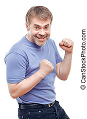 Upbeat man expressing positivity - Full of energy Vivacious...