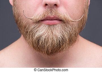 Beard - Close-up portrait of blond beard of a man. Serious...