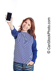 Nice girl holding mobile phone - Feeling happy. Pleasant...