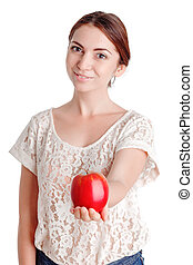Pleasant young girl apple - Favorite fruit. Nice smiling...
