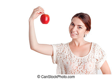 Pleasant young girl apple - Taste it. Vivacious smiling...