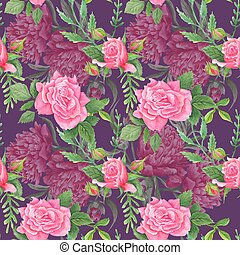 Boho Chic Watercolor Floral Pattern - Seamless hand-painted...