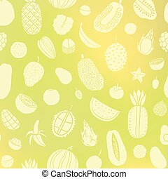Tropic fruit background. Vector hand drawn illustration