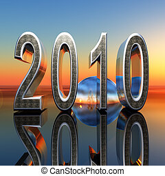 2010 Year Dawn - Abstract 3D graphic with 2010 new year text...