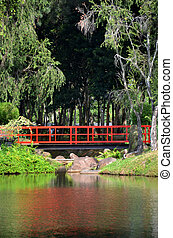 Red bridge in Chinese Garde, Singapore