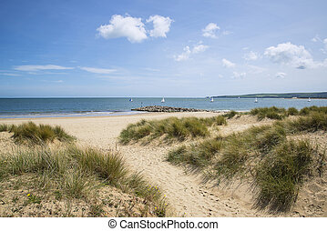 Lovely sand dunes and beach landscape on sunny Summer day -...