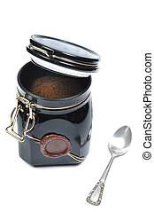 metallic coffee box - italian style on white background with...