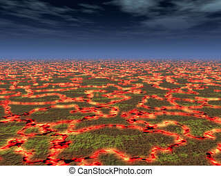 Hot Lava Background - A horizon of cracked earth with lava.