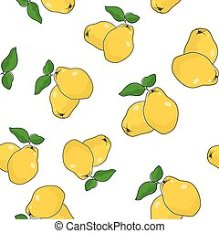 Seamless Pattern of Quince , Fruit Pattern, Vector...