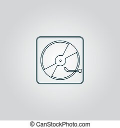 Vinyl record player Flat web icon or sign isolated on grey...