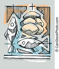 Eucharist - Hand drawn illustration or drawing of 2 fishes...