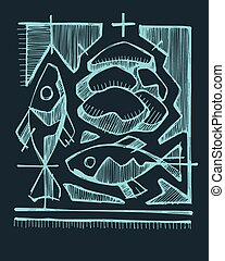 Eucharist - Hand drawn vector illustration or drawing of 2...