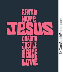 Jesus Cross - Hand drawn vector illustration or drawing of a...
