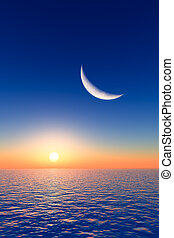 Moon over Sunrise - A fantasy moon over sea and sunrise