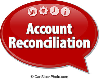 Account reconciliation Business term speech bubble...