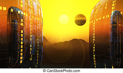 fantasy fiction city sun - a sunrise between to alien...