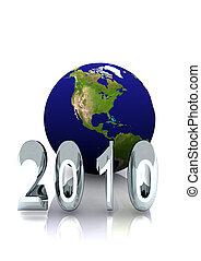 2010 Report Cover - A year 2010 with world globe for annual...
