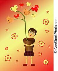 boy holding a heart flower pot