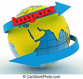 Import arrow around earth for business. Direction concept....