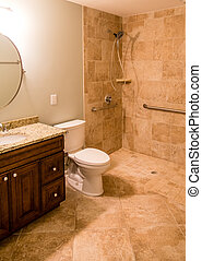 Tile Bathroom with Handicapped Shower - A modern bathroom...