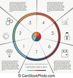 Infographic template on 7 positions - Infographic business...
