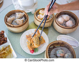 Chinese Dim sum set top view