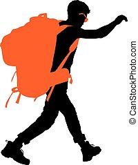 Vector Backpacker - Backpacker vector silhouette EPS 10