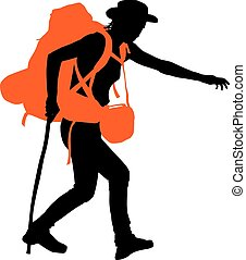 Vector Backpacker - Trekker vector silhouette with orange...