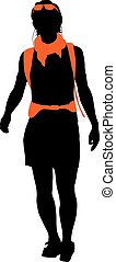 Vector Backpacker - Trekker vector silhouette with orange...