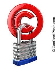 copyright, Simbolo, con, lock., protezione, concept.,