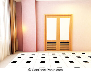 door in the empty room