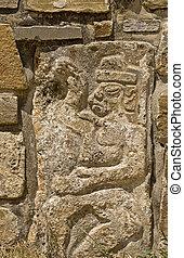 Précolombien, pierre, découpage, Mesoamerica