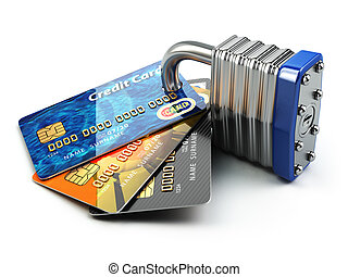 Secure payment internet online shopping concept.. Credit cards and padlock.