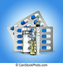 Concept of madicine. Pills, vial, ampoule and syringe on blue background.