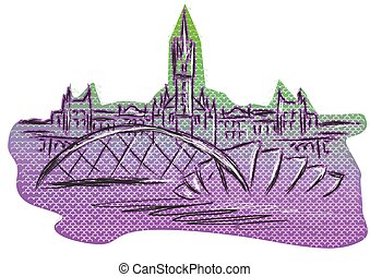 Glasgow. abstract silhouette of town on white background